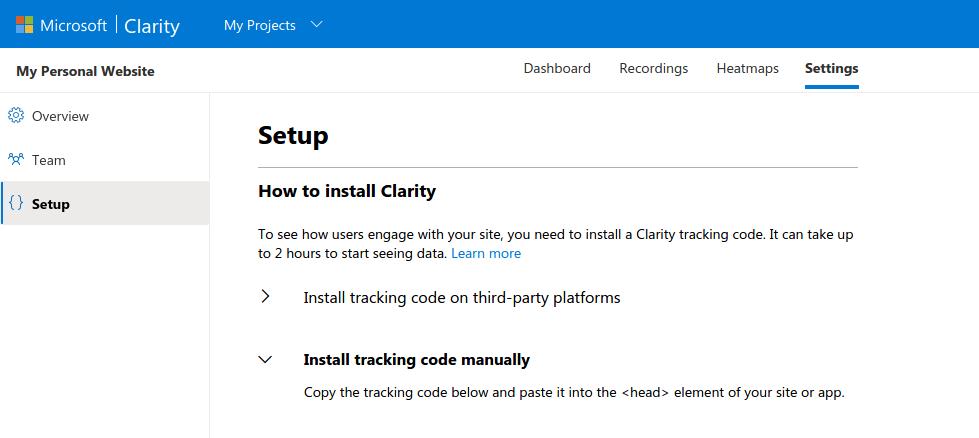 How to setup Microsoft Clarity