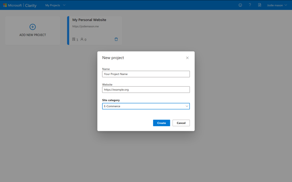 Setup project in Microsoft Clarity